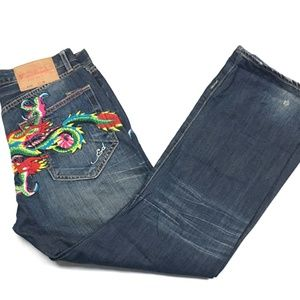 Ed Hardy 2008 Distressed Blue Jeans Men's 34 x 32